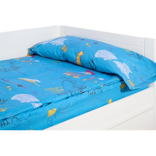 "Saco nórdico Ajustable ""Holiday Azul"" - 160x195x10 cm - Sin Relleno"
