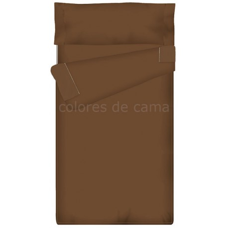 Saco nórdico Ajustable Liso - MARRÓN CHOCOLATE -  68 x 162 x 9 cm - Sin Relleno