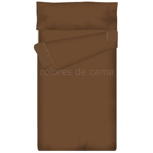 Saco nórdico Ajustable Liso - MARRÓN CHOCOLATE -  60 x 195 x 9 cm - Sin Relleno