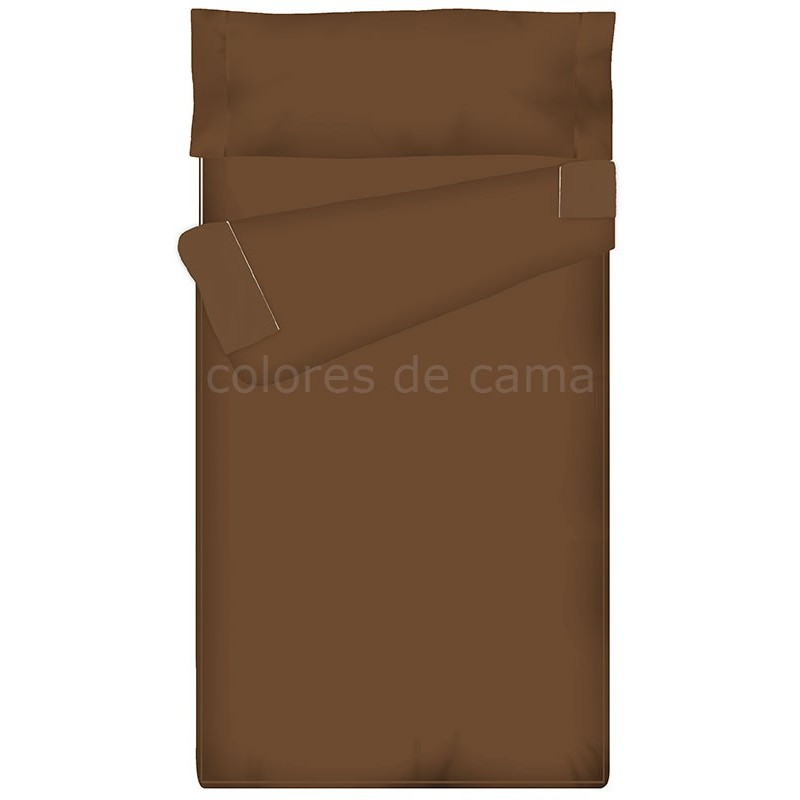 Saco nórdico Ajustable Liso - MARRÓN CHOCOLATE -  122 x 185 x 14 cm - Sin Relleno