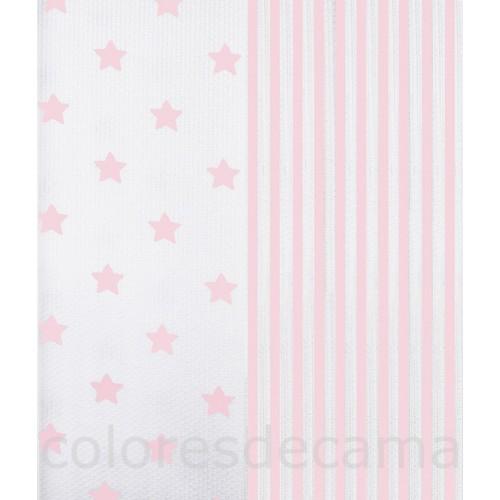 Funda de Cojín Piqué Combinado - Rayas Rosas - Estrellas Rosas - 60 x 60 cm con Cremallera