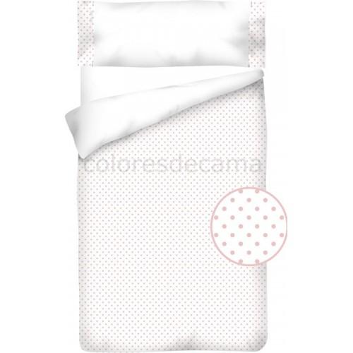 """Funda nórdica """"Algodón y Pique""""  Topos Rosas - 2 Piezas"""