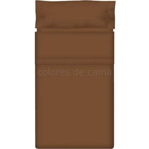 Juego de sábanas Lisas MARRÓN CHOCOLATE - 3 Piezas