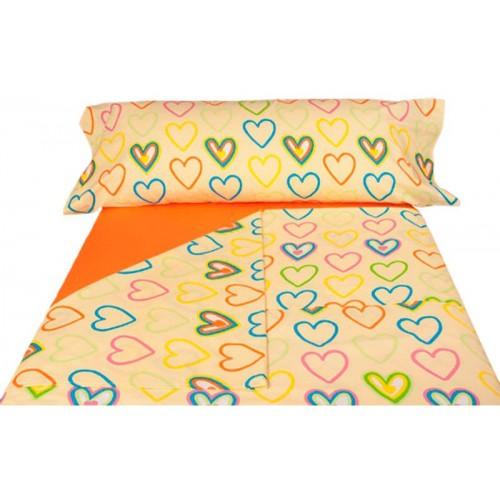 Juego de sábanas Cuore Amarillo - 2 Piezas