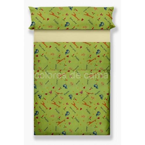"""Juego de sábanas """"Petit Amis Verde"""" - 2 Piezas"""