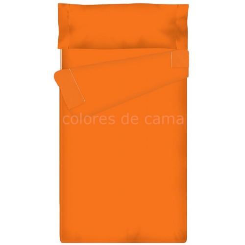 Saco nórdico Ajustable Liso - NARANJA - 130 x 185 cm - Con Formas Especiales y Relleno 250 gr/m2
